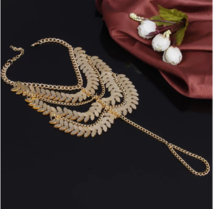 Tassel Ankle Multi-layer Anklet Golden Leaves Chain Toe Ring HOT! 4J7U