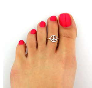Fashion Toe Ring Simple Peace Sign Open Adjustable Foot Jewelry Beach Jewelry