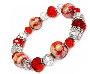Woman Bracelet/Red Porcelain Beads/Crystal Beads/Rhinestones Spacer/ Stretch Bracelet