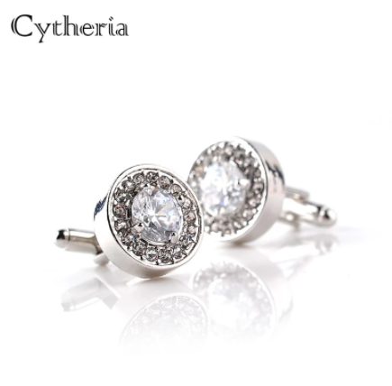 Luxury Cufflinks For Mens And Women Zircon white purple Crystal clear Cuff Button High Quality Accessoire gift for groom wedding