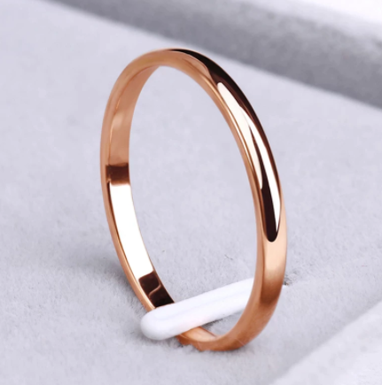 CACANA Stainless Steel Rings Rose Gold Anti-allergy Smooth Simple Wedding Couples Rings Bijouterie