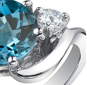 Peora 3 Stone Design 2.25 carats London Blue Topaz Ring in Sterling Silver Sizes 5 to 9