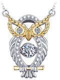 """The Owl of Minerva"" Designer Jewelry Twinkling Heart Collection Sterling Silver Pendant Necklace"