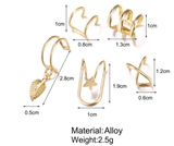 Modyle 5pcs/set 2020 Fashion Gold Color Ear Cuffs Leaf Clip Earrings for Women Climbers No Piercing Fake Cartilage Earring