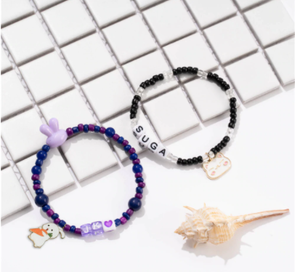 1 pc kpop Colorful Beads Bracelet Cartoon Animals Elastic Bracelet Handmade Jewelry bangtan boys Jhope for Girls