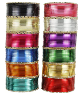 MUCH-MORE 6 Design Box Plain Bangles for Karva Chauth & Party Wear Optional Colours for Women & Girls