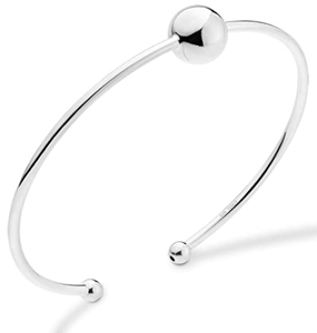 Miabella 925 Sterling Silver Italian Adjustable Bead Ball Polished Open Cuff Bangle Bracelet for Women 7.25-7.5 Inch, Made in Italy