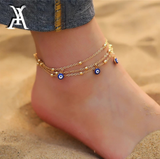 Bohemian Anklet Bracelets For Women Multiple Layers Turkish Eyes Ankle Bracelet Barefoot Sandals Pulseras Foot Jewelry