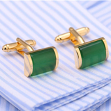 1 Pair Romantic Green And Gold Cufflinks Imitation Crystal Cuff links French Cuff links Nail Sleeve Button For Wedding