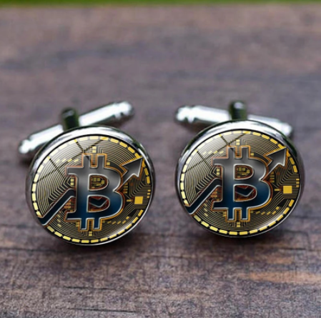 French Shirt Cufflinks Men's Metal Banquet Round Bit Coin Button Creative Exquisite High Quality Cuff Link Gifts