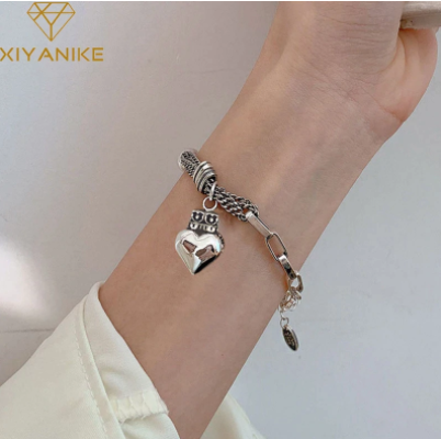 XIYANIKE 925 Sterling Silver Korean Love Bead Crown Peach Heart Bracelet Retro Female INS Unique Design Fshion Jewelry Gift