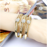 SUNSPICEMS Gold Color Full Rhinestone Cuff Bracelet Bangle For Women Arabic Ethnic Wedding Party Jewelry Morocco Bridal Gift