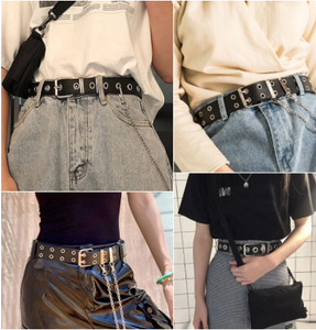 Women Punk Chain Fashion Belt Adjustable Double/Single Row Hole Pin Buckle Waist Belt Jeans Casual Female Decorative Waistband