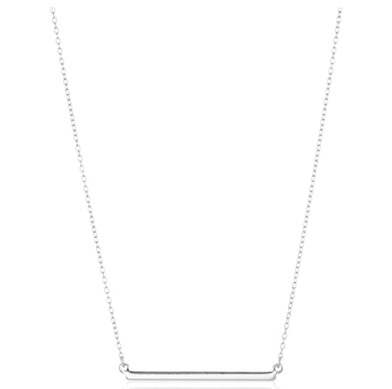 Amazon Collection Sterling Silver Horizontal Bar Necklace, 18