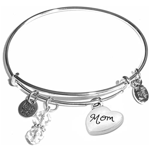 Visit the Hidden Hollow Beads Store Women's Made In USA Stainless Steel Message Charm Expandable Wire Bangle Bracelet, Popular, Stylish and Trendy, Arrives in a Gift Box.