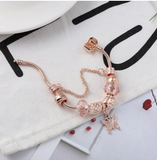 BRACE CODE Rose golden butterfly Charm Bracelet With An crown Beads Fits Fine Bracelet Women Party Jewelry Dropshipping