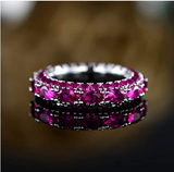 Barzel Rhodium Plated Oval Cut Created Ruby, Emerald & Sapphire Three Row Eternity Ring Band