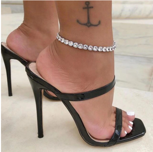 Stonefans Charm Jewelry Big Rhinestone Tennis Anklet Chain for Women Simple Bling Crystal Foot tennis Chain anklet Beach Jewelry