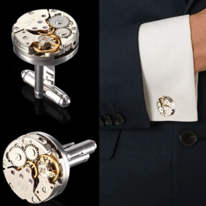 2Pcs Fashion Women Men Mechanical Watch Movement Cufflinks Shirt Sleeve Buttons bullet aircraft modeling Cufflinks Christmas Gif