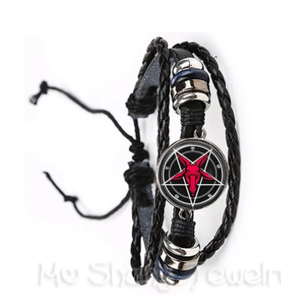 2018 Supernatural Pentagram Glass Bracelet Gothic Pendant Satanism Evil Occult Pentacle Jewelry Pagan Charm Gift For Friends