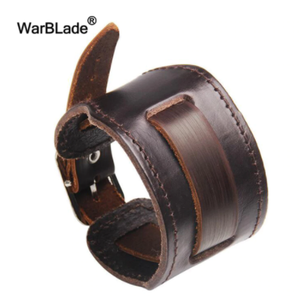 WarBLade New Fashion Men Wide Genuine Leather Bracelet Brown Wide Cuff Bracelets & Bangles Vintage Punk Wristband Men Jewelry
