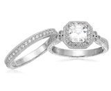 Platinum or Gold Plated Sterling Silver Swarovski Zirconia Antique Ring Set