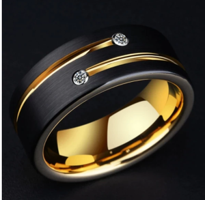 Slimming ring European and American exquisite fashion black groove hollow engagement men's diamond ring