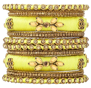 Aheli Royal Design Silk Thread Bangle Set Saree Matching Chuda Indian Traditional Wedding Fashion Jewelry for Women