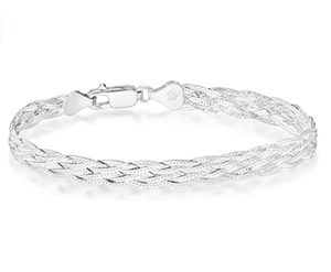 Miabella 925 Sterling Silver Italian 6-Strand Diamond-Cut 7mm Braided Herringbone Chain Bracelet for Women Teen Girls 6.5, 7.25, 8 Inch 925 Italy