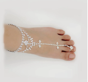 Blesiya Crystal Slave Anklet Over Toe Ring Foot Chain Diamante Beach Jewelry