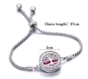 Perfume Bracelet Essential Oil Diffuser Aromatherapy Locket Bracelet Tree of Life 316L Stainless Steel Diffuser Bracelet
