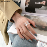 HUANZHI 2020 New Colorful Transparent Acrylic Irregular Marble Pattern Ring Resin Tortoise Rings for Women Girls Jewelry