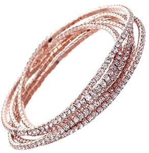 Rosemarie Collections Women's Set of 5 Rhinestone Stretch Bracelets