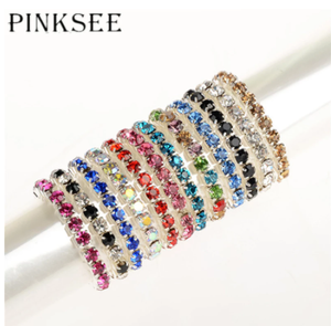Pinksee Newest 12pcs/lot Charm Fashion Colorful Crystal Toe Rings for Women Girls Mixed Color Stretch Foot Jewelry Toe Gifts