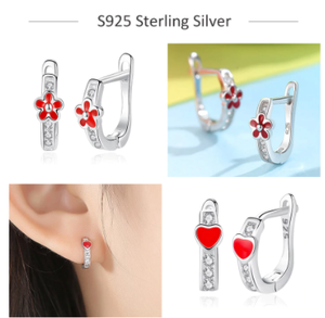 100% 925 Sterling Silver Jewelry Kids Earrings Exquisite Enamel Cute Animal Ladybug Flower Cherry Stud Earrings Gift for Girl