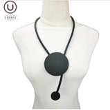 UKEBAY Novel Round Pendant Necklaces Black Rubber Chains 2020 Women Fashion Design Necklaces Festival Gift Punk Jewelry Necklace