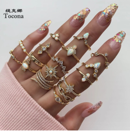 Tocona Boho 17pcs/sets Luxury Clear Crystal Stone wedding Ring Sets for Women Men Water Drop Flowers Sun Geoemtric Jewelry 8920