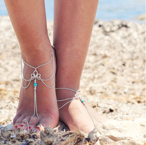 Vintage Silver Color Tassel Chain Toe Ring Anklets For Women Fashion Simple Hollow Flower Opal On Leg Ankle Anklet Foot Jewelry