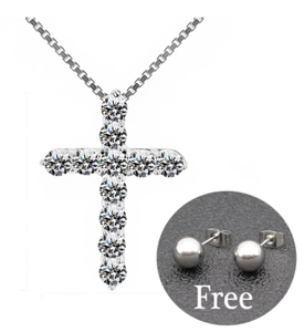 5A Zirconia Cross Crystal Pendants Silver-Plate Box Chain Necklace Female Choker Necklaces Fashion Jewelry Gifts For Women Girls