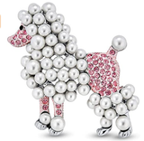 Bling Jewelry Fashion Statement Crystal White Simulated Pearl Pink Dog Poodle Brooch Pin for Women for Teen Rhodium Plated