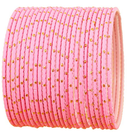 Touchstone New Colorful Bangle Collection Indian Bollywood Exclusive Golden Glaze Color Designer Jewelry Special Large Size Bangle Bracelets. Set of 24 for Women.
