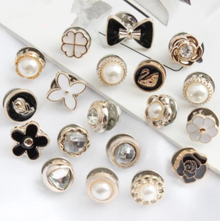 10Pcs/Set Pearl Rhinestone Button Prevent Accidental Exposure Buttons Brooch Pins Badge Cufflinks Button For Clothes Decor