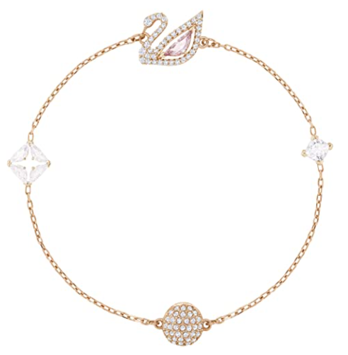 SWAROVSKI Women's Dazzling Swan Necklace, Earrings, Bracelet Rose Gold Tone Finish White/Pink Crystal Jewelry Collection