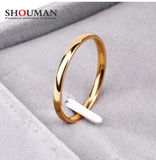 SHOUMAN 2020 2mm Thin Rose Gold Anti-Allergy Smooth Simple Titanium Steel Wedding Rings for Women Valentine's Day Present
