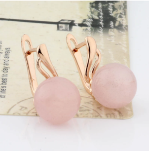 New Fashion Earrings 12mm Spherical Natural Stone Earring 585 Rose Gold Color Long Dangle Earrings For Women Wedding Jewelry