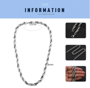 FINE4U N553 Gold Color Rope Chain 8mm Stainless Steel Men Chain Necklace Women Chains 21 Inches