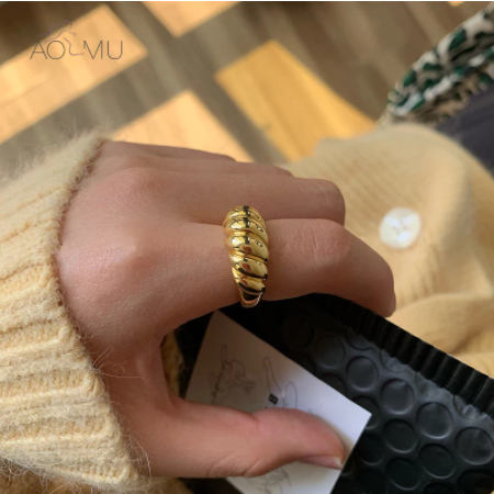 AOMU 2020 New Gold Color Silver Color Twisted Croissants Threads Geometric Rings for Women Minimalist Chunky Vintage Jewelry