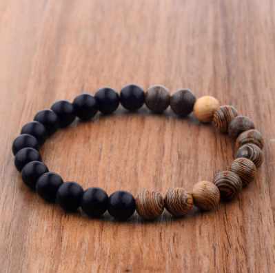 8mm New Natural Wood Beads Bracelets Men Black Ethinc Meditation White Bracelet Women Prayer Jewelry Yoga Bracelet Homme