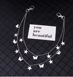Silver Color Multi-element Big Stars Butterfly Belt Waist Chain for Women Punk Street Jeans Key Chain Jewelry Bijoux Hook Gifts