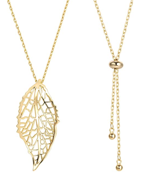 Leaf Long Pendant Necklace Handmade Trendy Filigree Bohemian Jewelry for Women
